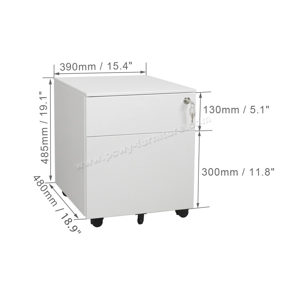 Pengcheng PCP-390F2 2 Drawer Side Open Mobile Pedestal/Cabinet