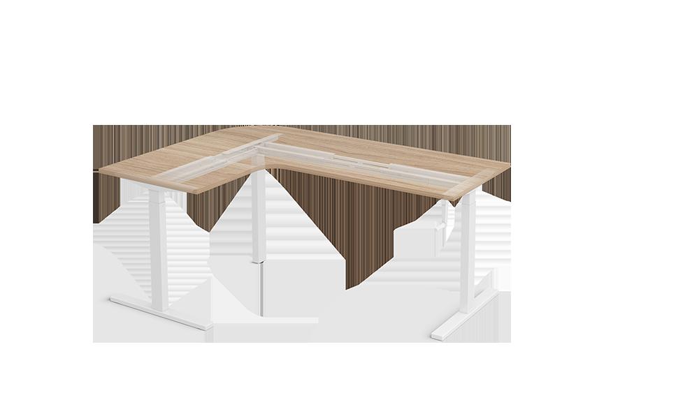 L Shape Manual crank height adjustable standing desks